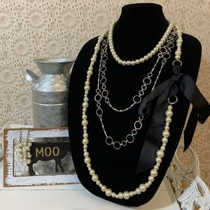 Pearls & Links Necklaces and Earring Set